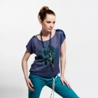 Linen dark blue blouse