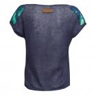 Lniana bluzka z krótkim rękawem granatowa