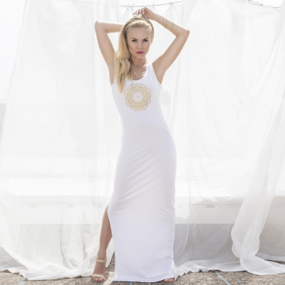 long white dress with front print
