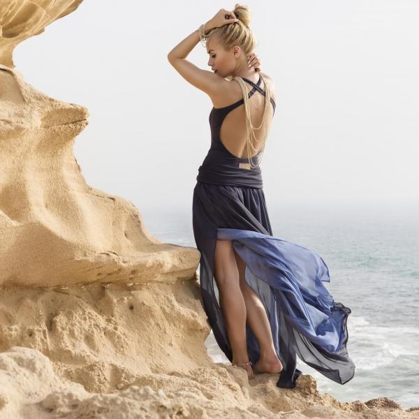 dwustronna jedwabna spódnica grafit & niebieski