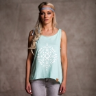 mint t-shirt with straps and ethic print