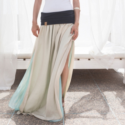 dwustronna jedwabna spódnica mięta & beż