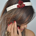 Lace wreath with burgundy flowers