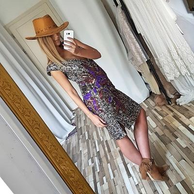 Złota sukienka cekin