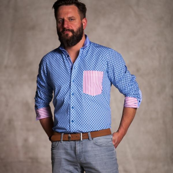 Men's shirt Blue tiled