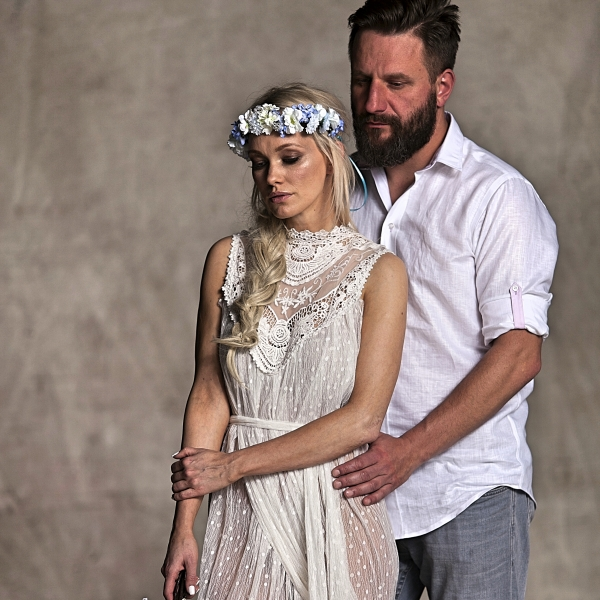 bawełniana koszula męska taliowana White