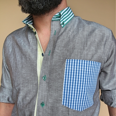 Men's shirt Blue tiled