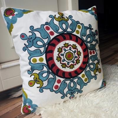 Błękitno-beżowa poszewka na poduszkę