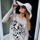giza - bawełniany sweter boho / beż & miętowy