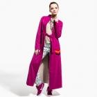 Długi turkusowo beżowy płaszcz jesień / zima | onesize