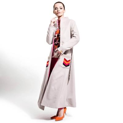 Długi beżowo różowy płaszcz jesień / zima | onesize