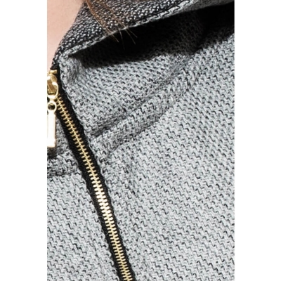 Big hood straight zipper blouse