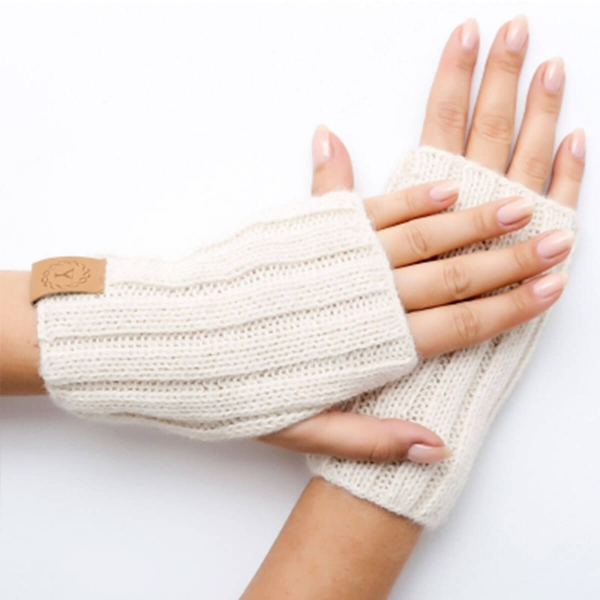 Fingerless soft, ecru gloves