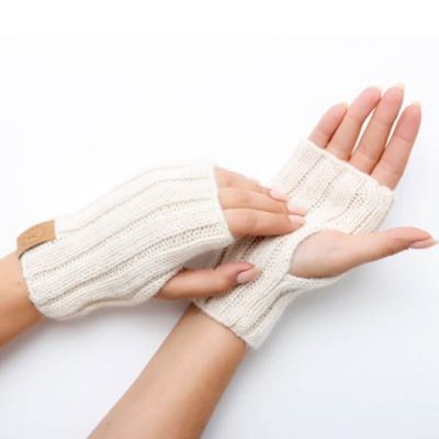 Bezpalcowe rękawiczki z alpaki kolor ecru