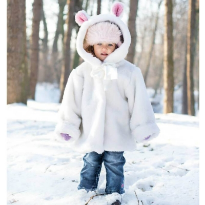 Płaszczyk - futerko dziecięce - krótki włos Biały