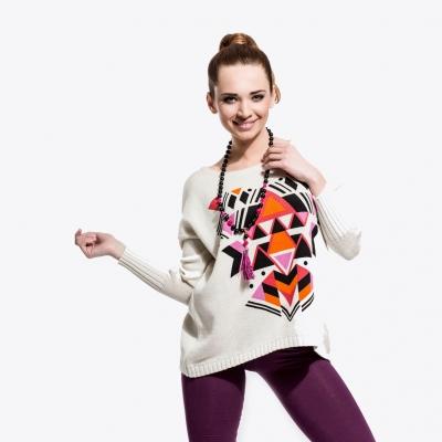 giza - bawełniany sweter boho / ecru & amarant