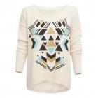 giza - bawełniany sweter boho / ecru & miętowy